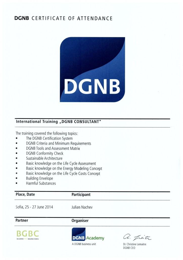 DGNB Certificate of attendance